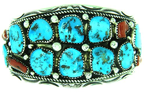 Navajo Artist Marie Thompson: Beautiful! Genuine Turquoise & Coral Men's Bracelet ()