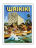 Waikiki - Outrigger Canoe - Outrigger B & B - Vintage Advertising Poster by N. Nichelson c.1980s - Master Art Print - 9in x 12in