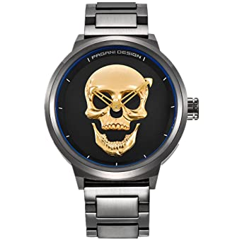 PAGANI DESIGN Punk 3D Skull Personality Retro Fashion Mens Watch Large Dial Design Waterproof Quartz Watches