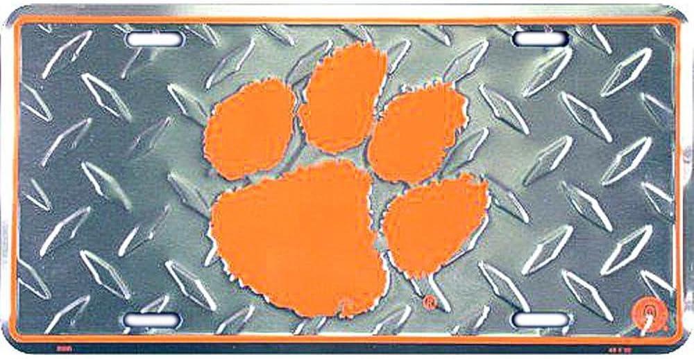 Signs 4 Fun SL2590 Clemson Tigers Diamond License Plate