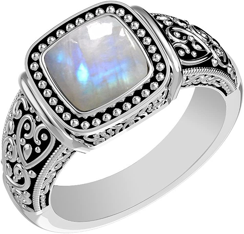 925 Silver Plated Natural RAINBOW MOONSTONE BESTSELLER Ring Any Size NEW