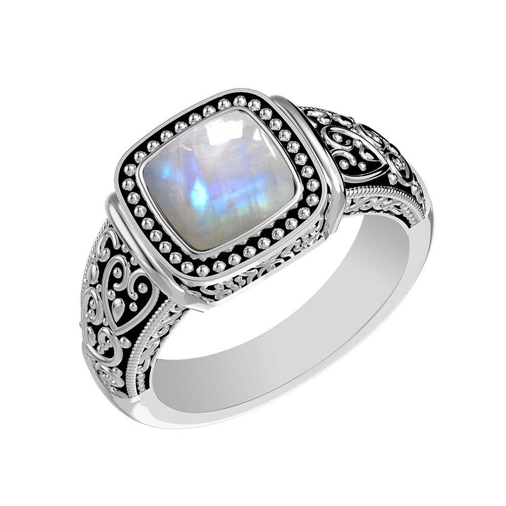 1.90ctw, Genuine Rainbow Moonstone Cushion & .925 Silver Overlay Solitaire Ring Size-7