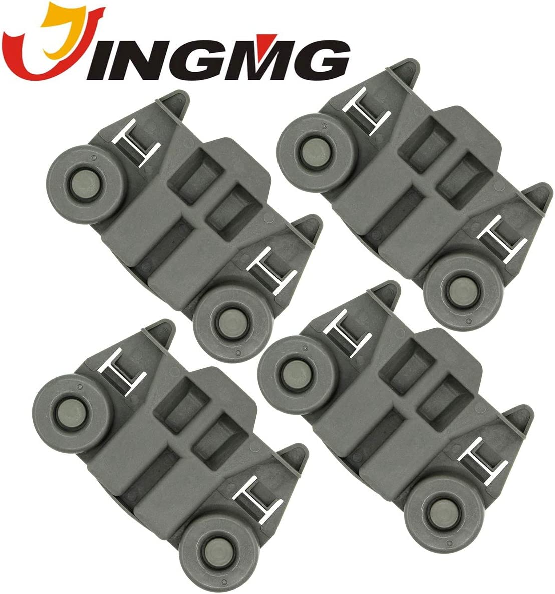Jingmg W10195417 Dishwasher Rack Roller Wheel Track Replacement Part Fit for Whirlpool & Kenmore Dishwashers - Replaces AP4538395 PS2579553 WPW10195417 (4 Pack)