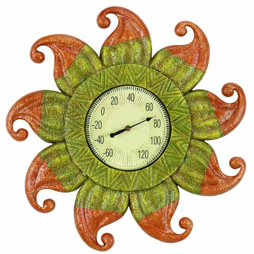 RAM Gameroom Products Outdoor Decor Sun with Clock and Thermometer