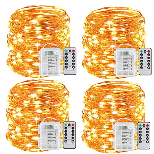 Sanniu Fairy Lights, 4 Packs Fairy String Lights Battery Operated Waterproof Copper Wire Remote Control Led Fairy Lights 16.4 ft. Firefly Lights Christmas Lights 8 Modes (Warm White)]()