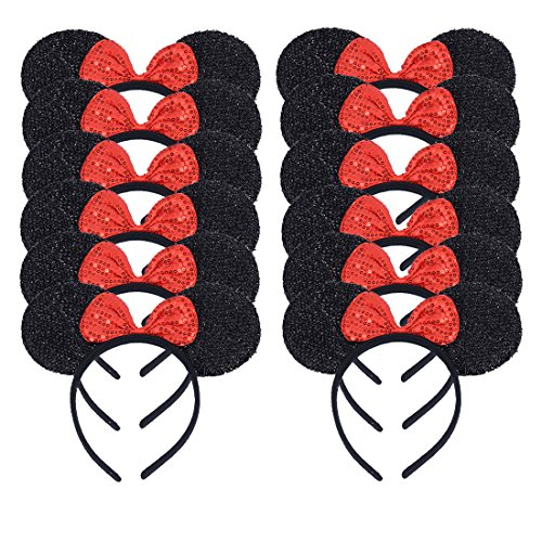 Minnie Mouse Headbands In Bulk (NiuZaiz Set of 12 Black Glitter Ear with Red Sequin Bow Mouse Ears Headband for Party Favor Decorations (Black Sequin)
