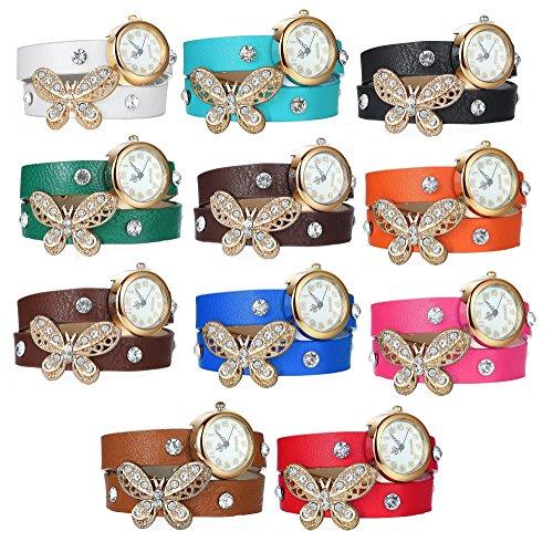Diamond Set Wrist Watch (5 Set of Women Girl Faux Pearls Rhinestone Butterfly Bracelet Quartz Analog Watches' Fiiliip (Mix)