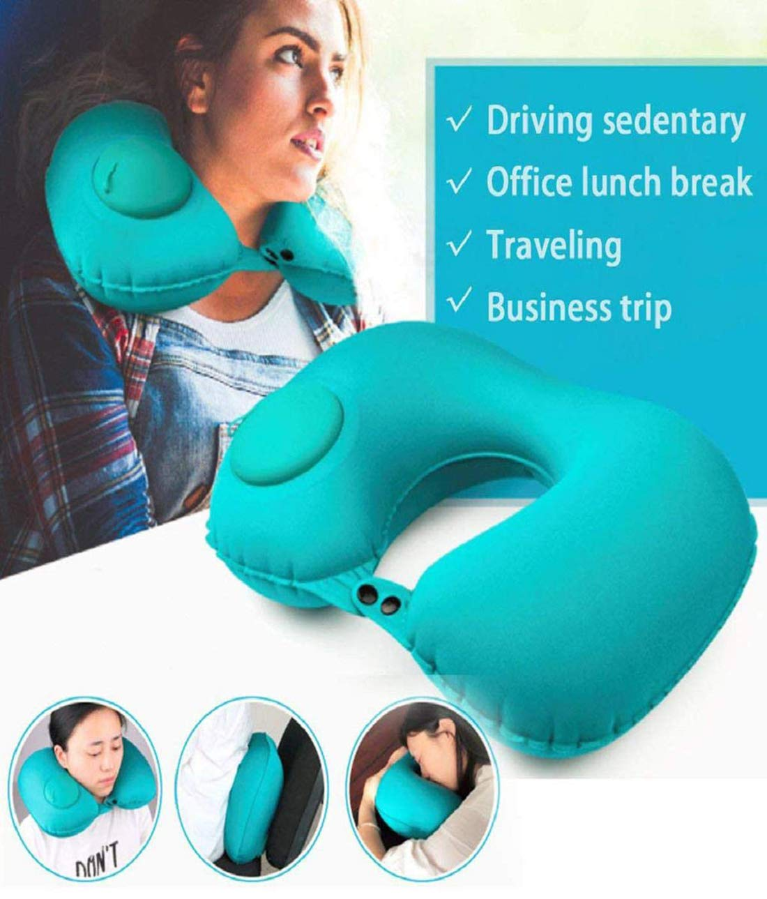 Outdoor Camping Camping Travel Pillow//Travel Home Portable//Button Travel Neck Pillow//Inflatable Airplane Pillow Automatic Inflatable Pillow Pillow U-Shaped Pillow