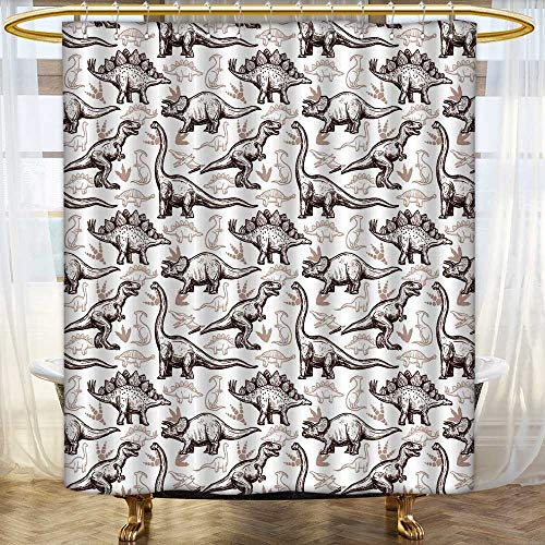 Jiahonghome Shower Curtains Digital Printing Prehistoric Dinosaurs Reptiles with Foot s on Seamless wrap Paper Two Color doodlestyle Abstract Satin Fabric Bathroom Washable Size:W54 x L72 inch