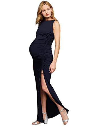 7dbc3dbbd237c A Pea in the Pod Ruched Maternity Maxi Dress Navy at Amazon Women's  Clothing store: