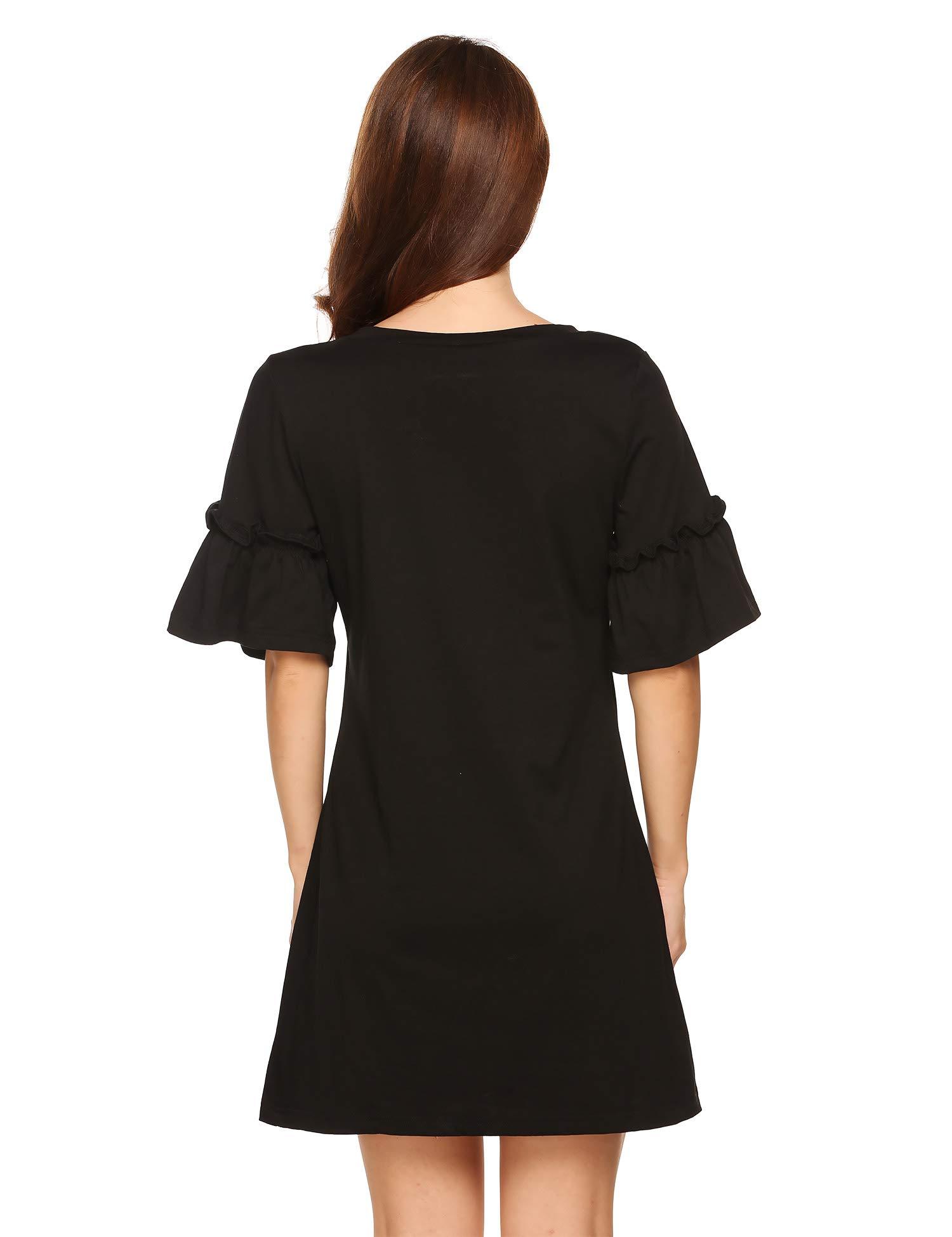 DonKap Women\'s Summer Sweet Cute Dress Casual Loose Bell Sleeve O Neck T Shirt Mini Dresses Black M