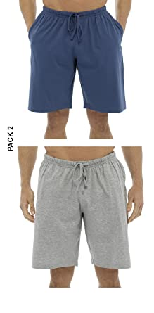 3376a7b7cc547 2 PACK Mens 100% Cotton Jersey Lounge Pyjama Bed Shorts Plain Elasticated  Waist Blue/