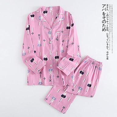 Kawaii Pijamas de Conejo Establece Mujeres Gasa de Primavera ...