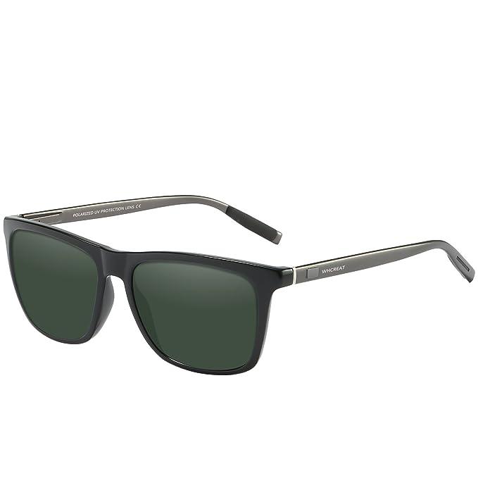 6343b9e004 WHCREAT Gafas De Sol Polarizadas Retro Unisex Diseño De Moda Vintage  Conducción Ultra Espejo Lente Espejada para Hombre y Mujer - Pistola Brazos  Verde ...