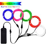 Zitrades EL Wire Neon Lights Kit  with Portable AA Battery Inverter for Halloween Christmas Party Decoration (White, Blue, Red, Green, Pink, 5 by 1-Meter, 5 Pack)