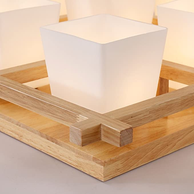 Amazon.com: Lámpara de techo de madera japonés lámpara de ...