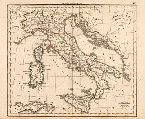 'Italiae Antiquae Mappa Nova' by Felix Delamarche. Ancient Italy - 1825 - old map - antique map - vintage map - printed maps of Italy