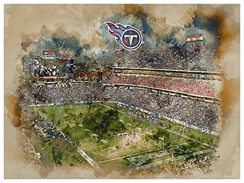 Tennessee Titans Water (Tennessee Titans Poster Watercolor Art Print 12x16 Wall Decor)