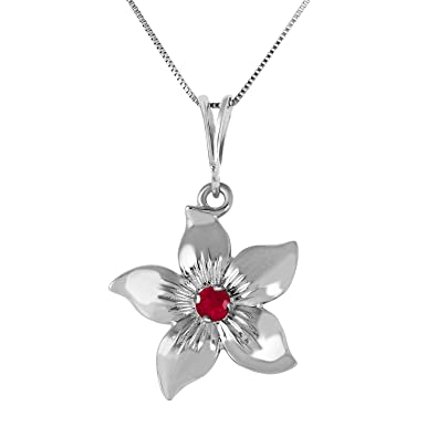 Amazon galaxy gold 01 carat 14k 14 solid white gold flower amazon galaxy gold 01 carat 14k 14 solid white gold flower necklace natural ruby pendant jewelry mightylinksfo