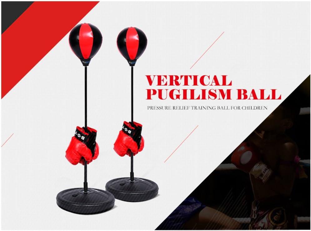 Hauteur r/églable enfants Punching Ball Boxe Bags poches exercice Kit Vitesse boxsport Jeu de combat avec des gants Box Ball Support pour enfants jeunes