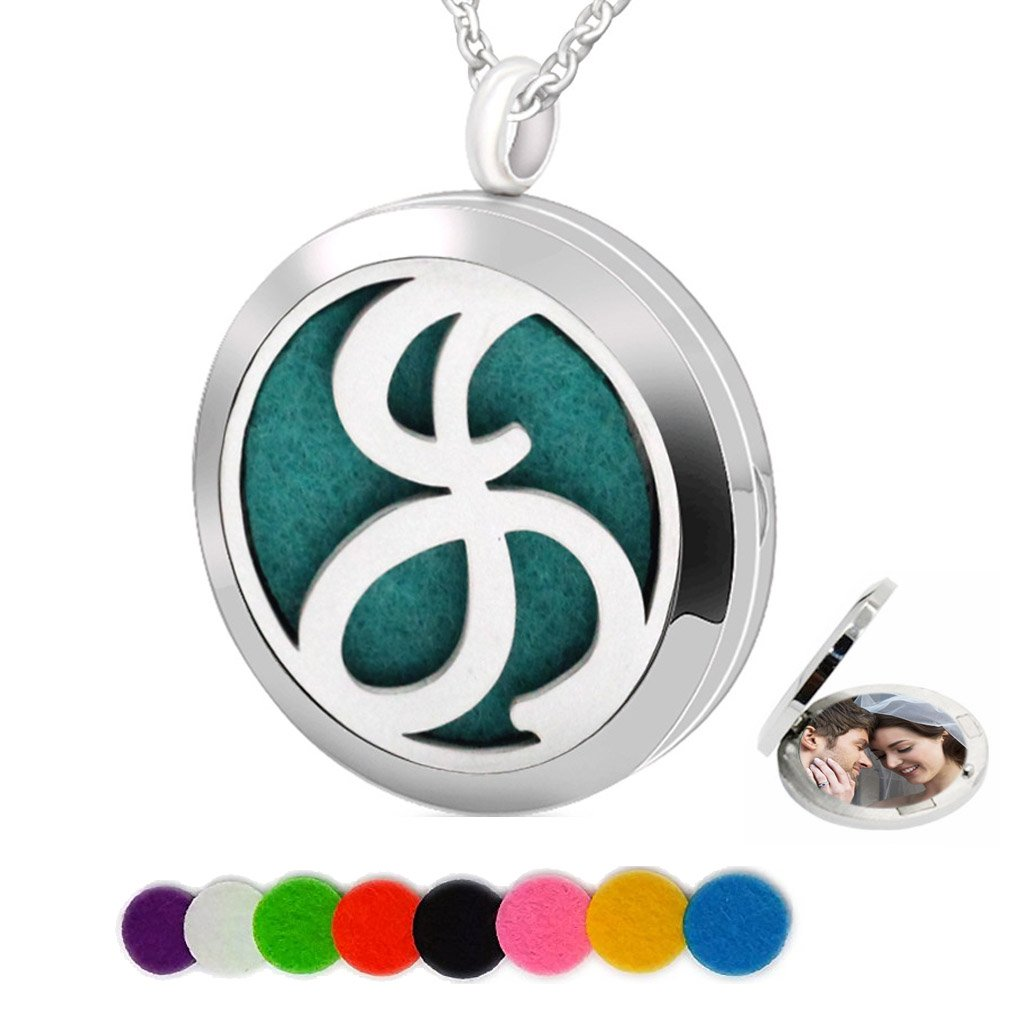 Chaomingzhen Essential Oil Necklace Aromatherapy Diffuser Pendant Letter J Round Kids Boys Picture Locket for Women Haidian Co. Ltd DN1102752