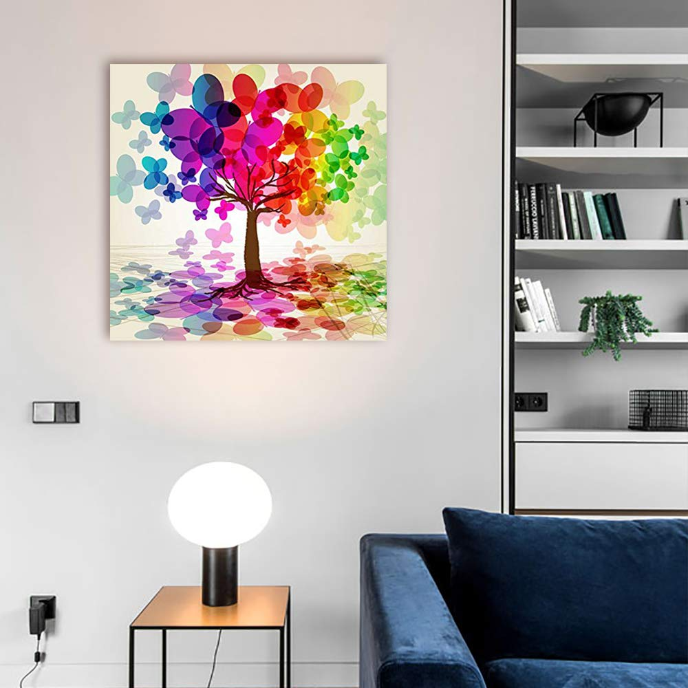 Canvas Prints Wall Art - Abstract Colorful Tree. (Rainbow, Abstract, Butterfly) | Modern Wall Decor/Home Decoration Stretched Gallery Canvas Wrap Giclee Print. Ready to Hang - 24