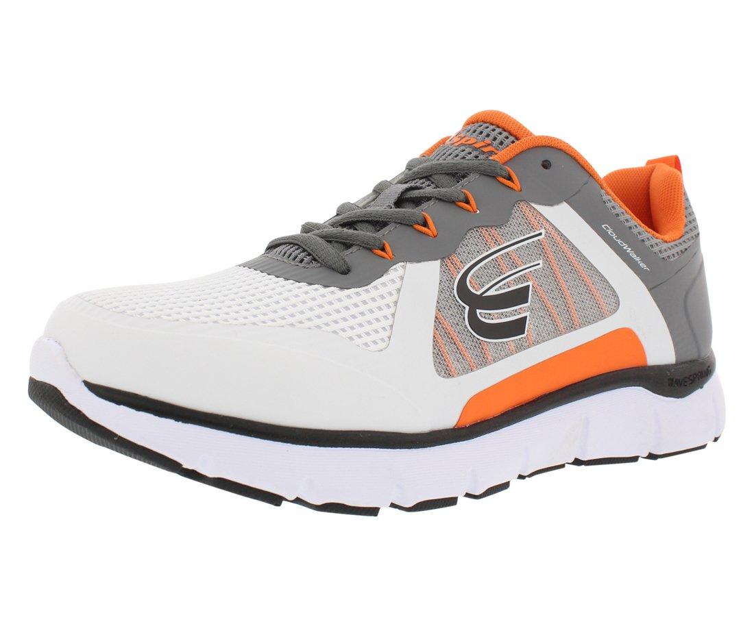 Spira Cloudwalker Walking Wide Men's Shoes 8 2E US|White / Dark Grey / Orange