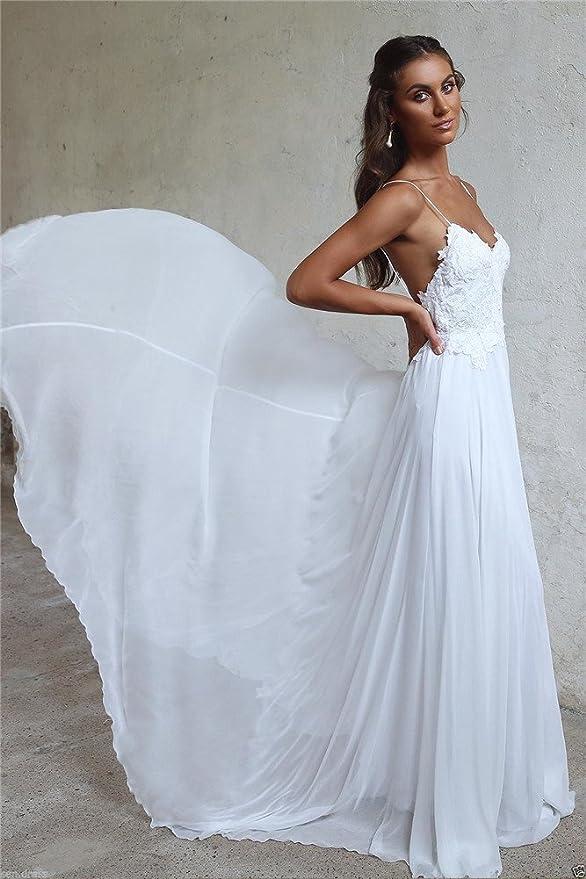 16f622962c2b Amazon.com: Menglu Sexy Backless Spaghetti Beach Wedding Dress Lace Chiffon  White Ivory Bridal Gown (8): Toys & Games