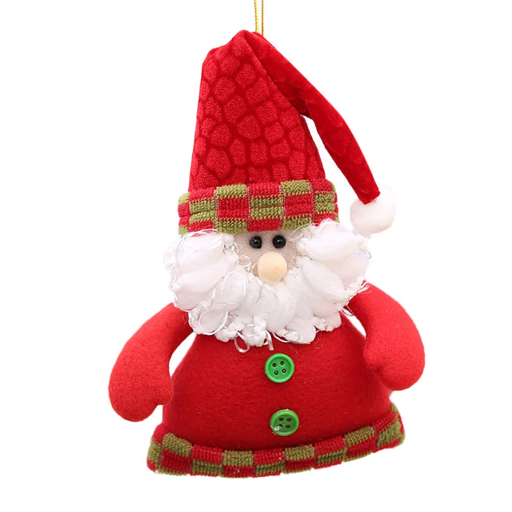 Cyhulu Christmas Cloth Hanging Ornaments, Kawaii Cartoon Santa Claus Elk Snowflake Doll Xmas Tree Pendant for Kids Toy, Holiday, Party Weeding Favors Decor (A, One size)