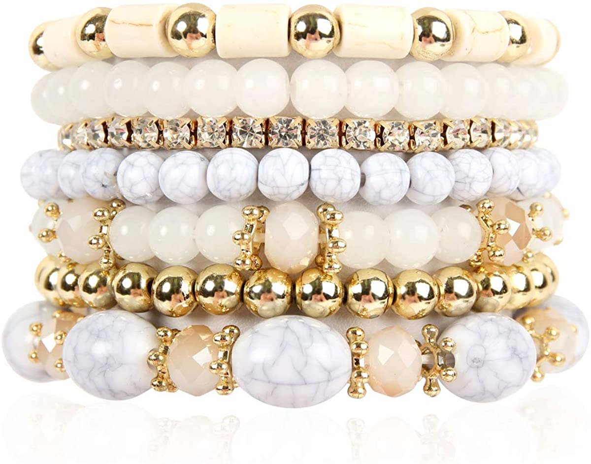 RIAH FASHION Multi Layer Bead Bracelet - Colorful Stacking Beaded Strand Stretch Cuff Statement Bangles Set