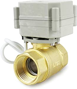 "HSH-Flo 2 Way 1/2"" 3/4"" 1"" 1-1/4"" 12V/24VAC/DC Brass On/Off Auto Return Electrical Position Feedback Motorized Ball Valve (1 Inch)"