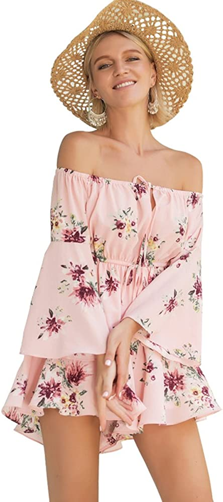 Bigbabybig Women Pink Rompers Jumpsuit Short Off Shoulder Dress Party Beach Holiday