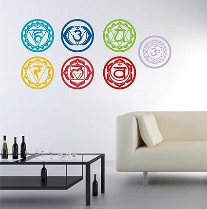 ¡7Pcs / Pack!!! Etiquetas engomadas de la pared del arte del símbolo de la meditación de la yoga de la meditación de Aum de la salud Etiquetas engomadas ...
