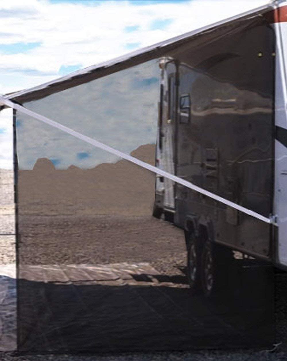 Tentproinc RV Awning Side Shade 9'X7' - Black Mesh Screen Sunshade Complete Kits Camping Trailer Canopy UV Sun Blocker - 3 Years Limited Warranty