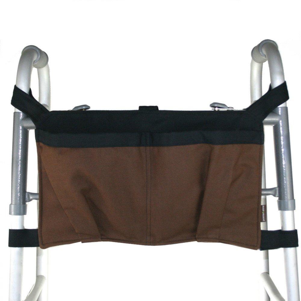 Walker Bag, Brown with Black Lining   Senior Walker Accessory   Carrier Pouch for Senior Walker