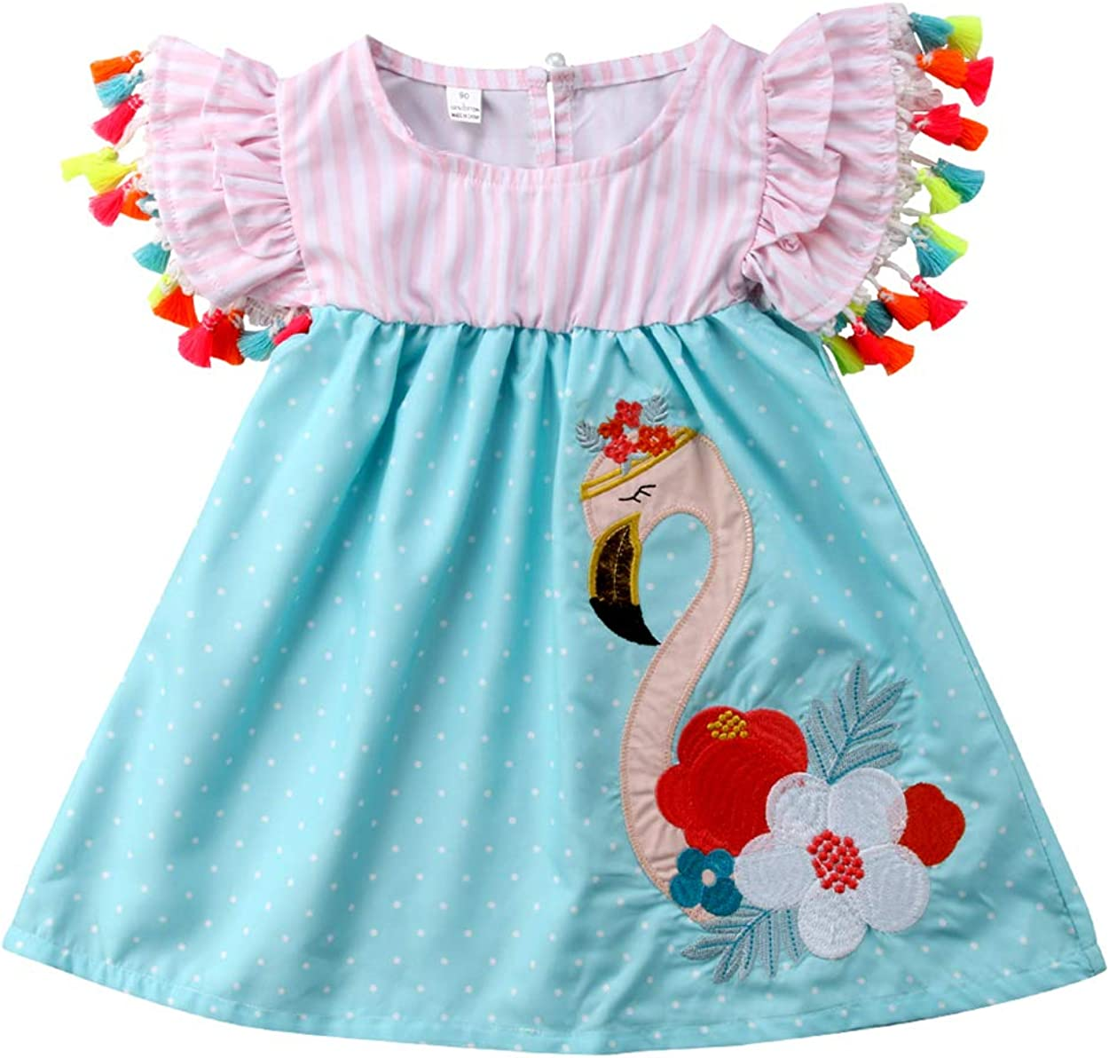 AMILIEe Swan Printed Toddler Infant Kids Girls Flamingo Summer Vacation Flounce Ruffle Tassels Dress Sundres Clothes for 1-6T