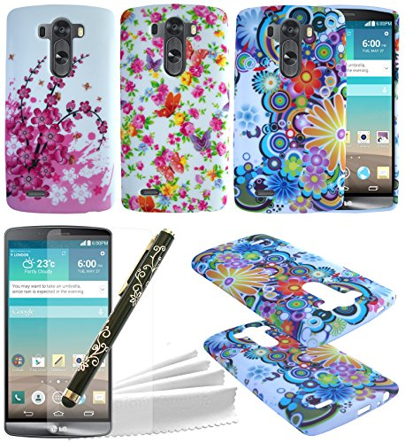 ColorYourLife LG G3 Gel Case Bundle - 3 Colorful Rubberized Flexible TPU Cases Covers Skins with Screen Protector for LG G3 + Stylus Pen + Microfiber Cleaning Cloth (Flower pattern)