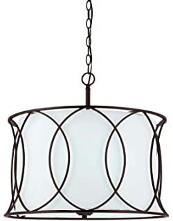 24 x 17 x 24 Canarm Ich587A03Ra17 Rue 3 Bulb Chain Chandelier Rubbed Antique Bronze with Flat Opal Glass