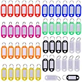 Mudder Multi-colors Plastic Key Fob ID Tags Luggage ID Labels with Split Ring Key Ring, 50 Pieces