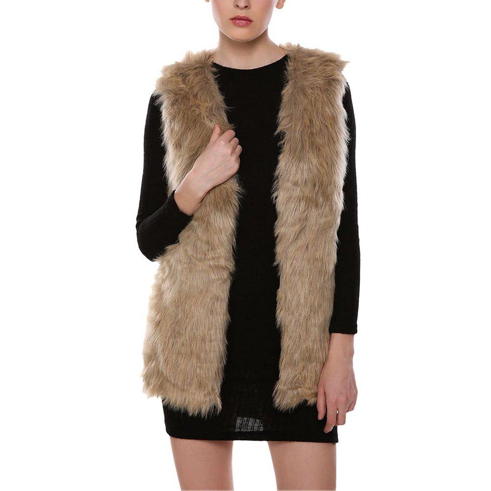 Vogholic Women's Fashion Faux Fur Vest Sleeveless Long Coat Outerwear