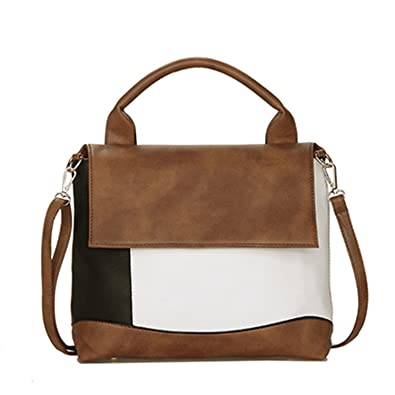 1bbe038a33 Amazon.com  George Gouge Fashion Patchwork Pu Leather Handbags Women Tote  Luxury Brand Women Shoulder Bags Top-Handle Bags 2018 Brown  L31Cmw11Cmh25Cm  Shoes