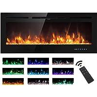 M.C.Haus Chimenea eléctrica pantalla táctil panel de vidrio colorido inserto de llama calentador montado en la pared con cristal y…