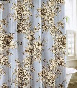 Amazon Com Laura Ashley Cotton Fabric Shower Curtain