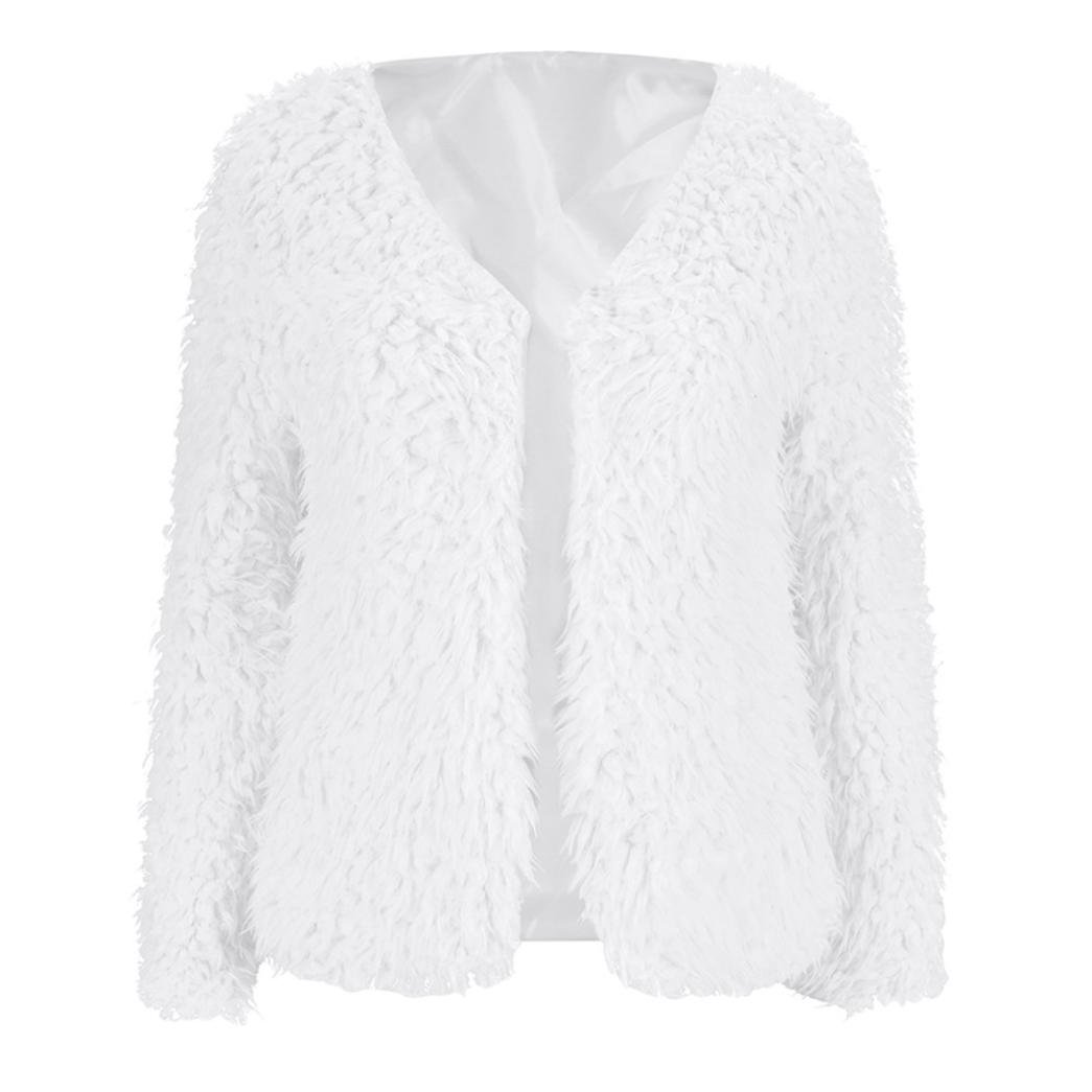 Sonnena moda mujeres invierno Fluffy perchero Lady caliente Cardigan Outwear chaqueta negro blanco S