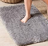 Non Slip Bathroom Rug Luxury Soft Shaggy Bath Mat with Maximum Absorbent, Machine Washable Shower Rug 20'' x 32'' (Grey)