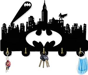 Batman Wall Door Hooks 5LB(Max) Quality Black Wood Made -Light in Weight-Easy to Install -Five Metal Hooks (Batman 3)