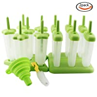 Whonline 2 Sets 12pcs Reusable Ice Popsicle Molds Star Ice Pop Maker with Brush & Funnel
