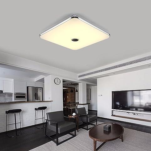 Dimmbare Deckenleuchte Mit Fernbedienung Und Bluetooth Lautsprecher 54W Fur  Wohnzimmer, Schlafzimmer, Küche Und Esszimmer