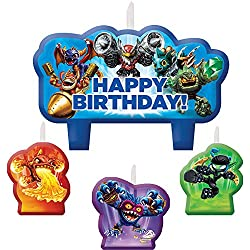 "Amscan Swashbuckling Skylanders Candle Set Birthday Party Cake Decorations (4 Pack), 2 1/4 x 3 3/10"", Blue"