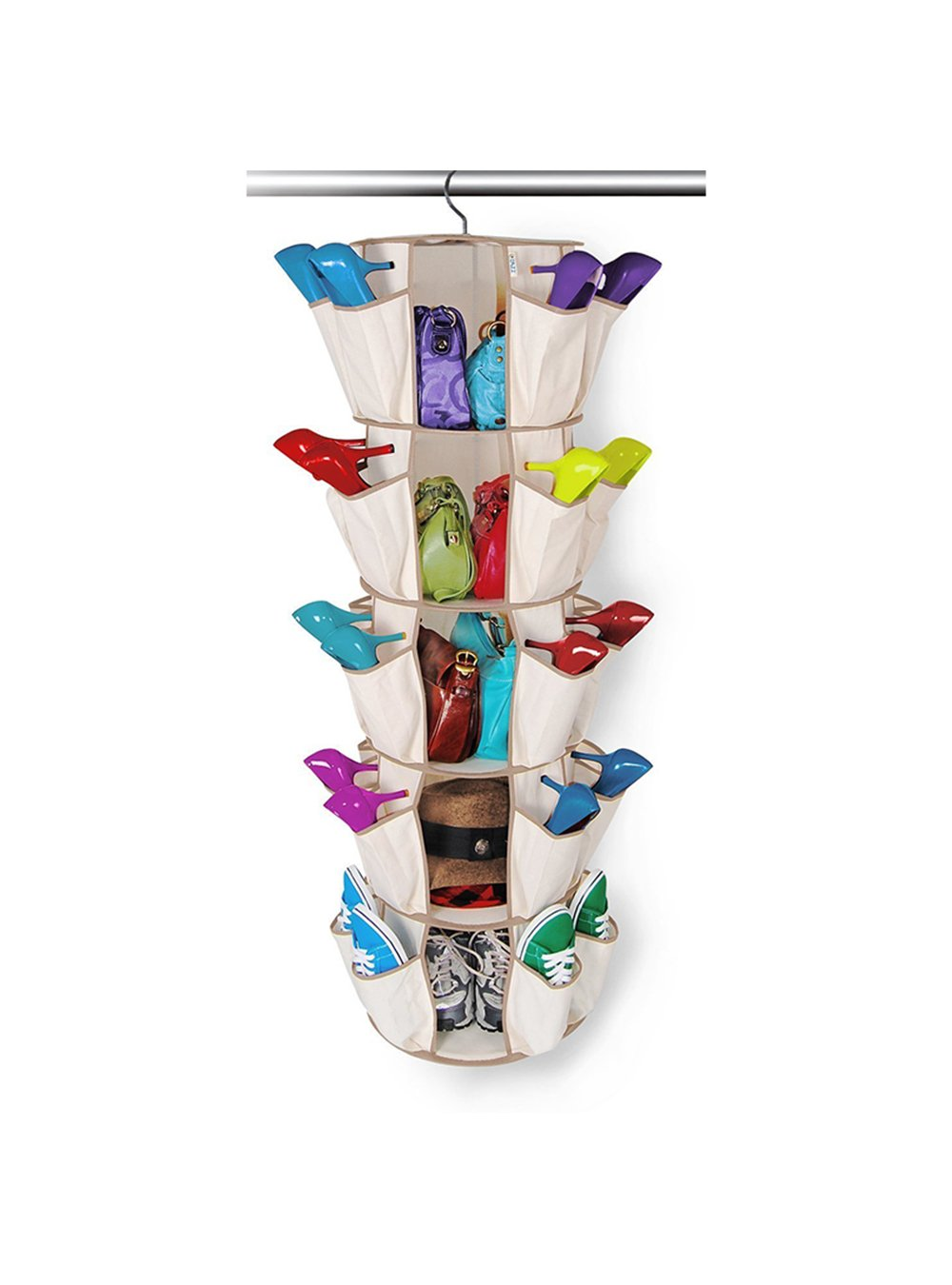 OAIMYY 40 Pockets Carousel Shoes Organizer 5-Tier Collapsible Closet Hanging Shelves Storage with 360° Swivel Hook (Beige, 40 Pockets)
